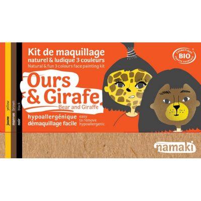 """Kit de maquillage bio 3 couleurs """"Ours et Girafe"""" - NAMAKI"""