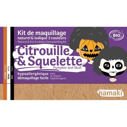 """Kit de maquillage bio 3 couleurs """"Citrouille et Squelette"""" - NAMAKI"""