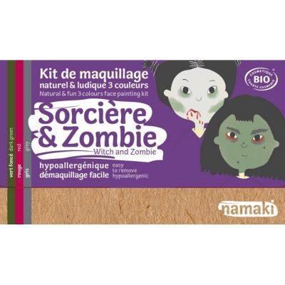 """Kit de maquillage bio 3 couleurs """"Sorcière et Zombie"""" - NAMAKI"""