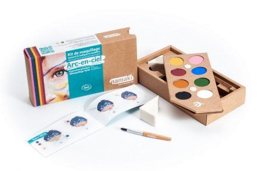 """Kit de maquillage bio 8 couleurs """"Arc-en-ciel"""" - NAMAKI"""