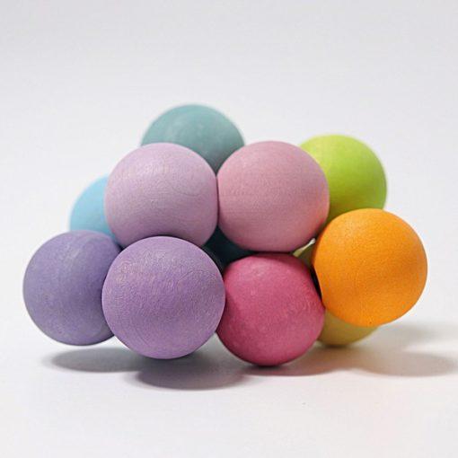 Hochet à boules arc-en-ciel Pastel - GRIMM'S