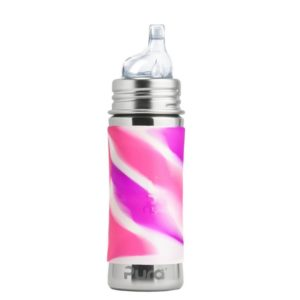 Biberon en inox - Bec d'apprentissage - Pink Swirl  - 325 ml