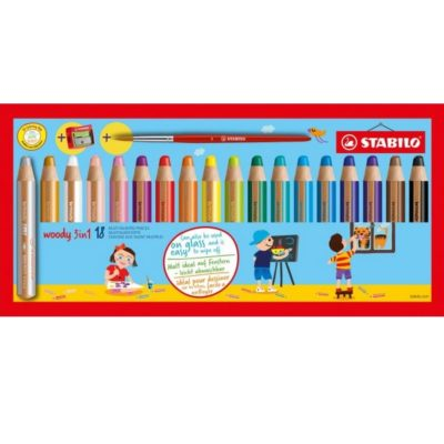 STABILO Woody 3 in 1 - 18 pièces avec taille crayon et pinceau