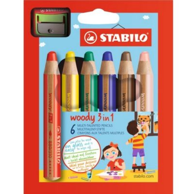 STABILO Woody 3 in 1 - 6 pièces  avec taille crayon