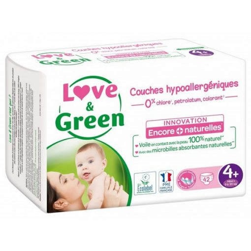 Couches Taille 4+ Maxi - 9 à 20 kg - LOVE & GREEN
