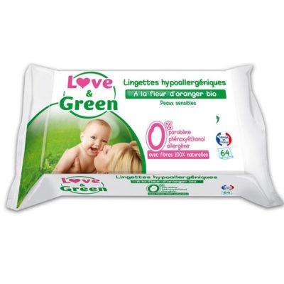 Lingettes bébé hypoallergéniques à la fleur d'oranger  - LOVE & GREEN
