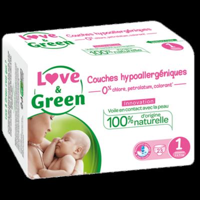 Couches Taille 1 nouveau né - 2 à 5 kg - LOVE & GREEN