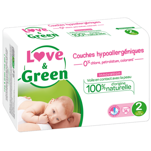 Couches Taille 2 mini - 3 à 6 kg - LOVE & GREEN