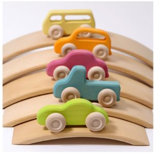 Lot de voitures en bois - Pastel  - GRIMM'S