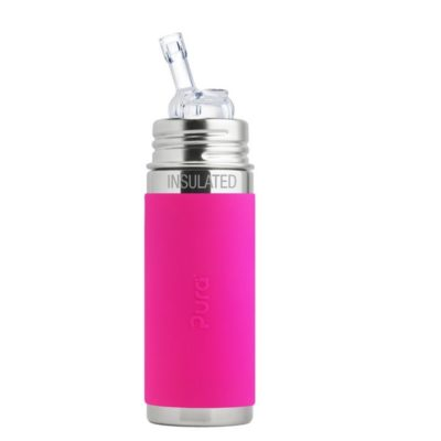 Gourde en inox - Isotherme - Paille- Pink - 260ml