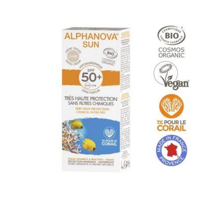 Alphanova Crème solaire teintée claire bio très haute protection indice 50+