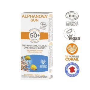 Alphanova Crème solaire Adultes Bio Hypoallergénique visage très haute portection indice 50+