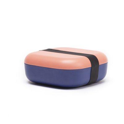 Boîte Bento Carrée - Corail / Royal Blue