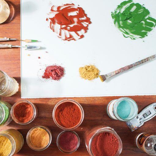 Natural Earth Paint - petit lot avec 1 pinceaux et 6 couleurs