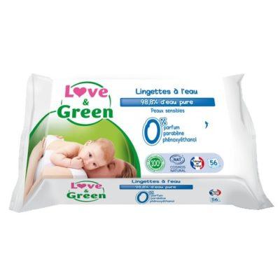 Lingettes bébé à l'eau - LOVE & GREEN
