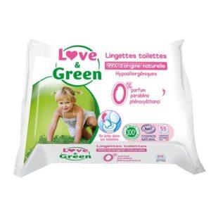 Lingettes toilettes écologiques - LOVE & GREEN