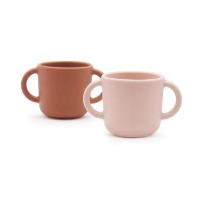 Set de 2 tasses d'apprentissage en Silicone - Blush/Terracotta